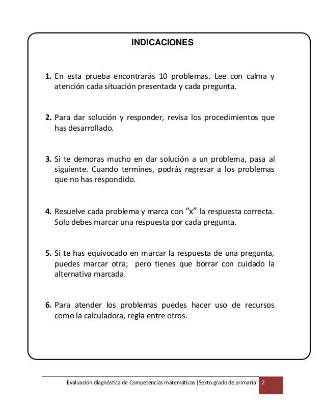 6° grado evaluación diagnóstica matemática-MINEDU