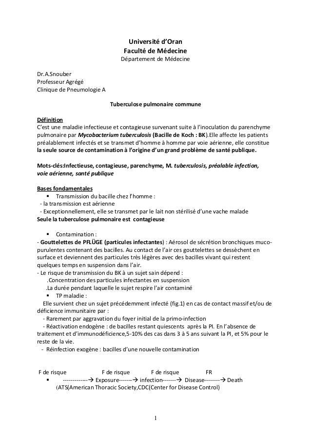 1 Université d'Oran Faculté de Médecine Département de Médecine Dr.A.Snouber Professeur Agrégé Clinique de Pneumologie A T...