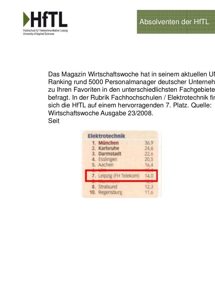 Absolventen der HfTLDas Magazin Wirtschaftswoche hat in seinem aktuellen UNI-Ranking rund 5000 Personalmanager deutscher U...