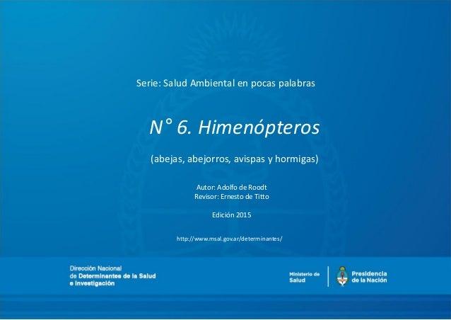 N° 6. Himenópteros (abejas, abejorros, avispas y hormigas) Autor: Adolfo de Roodt Revisor: Ernesto de Titto Edición 2015 S...