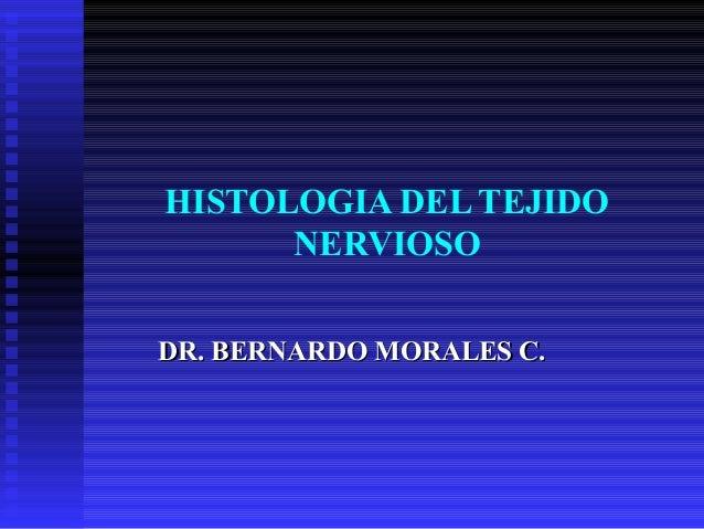 HISTOLOGIA DEL TEJIDO      NERVIOSODR. BERNARDO MORALES C.