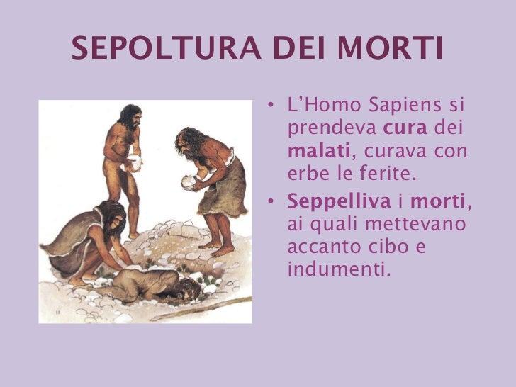SEPOLTURA DEI   MORTI <ul><li>L'Homo Sapiens si prendeva  cura  dei  malati , curava con erbe le ferite.  </li></ul><ul><l...