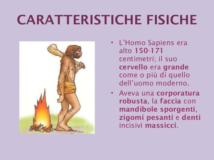 <ul><li>L'Homo Sapiens era alto  150 - 171  centimetri; il suo  cervello  era  grande  come o più di quello dell'uomo mode...