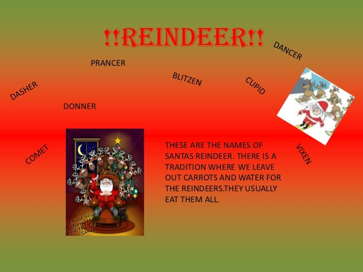 !!REINDEER!!    PRANCERDONNER              THESE ARE THE NAMES OF              SANTAS REINDEER. THERE IS A              TR...