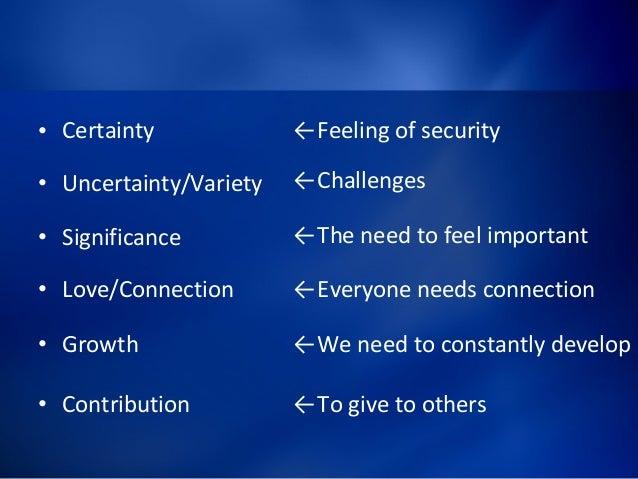 6 Human Needs Recap 12  E2 80 A2 Certainty  E2 80 A2 Uncertainty Variety