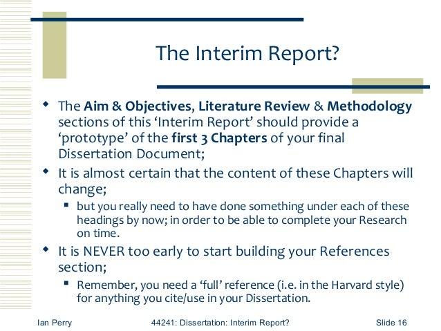 INTERIM REPORT REQUIREMENTS