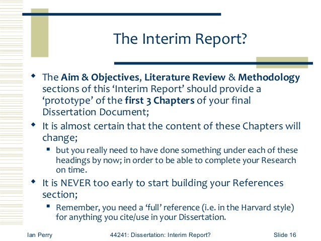 Interim Report Dissertation Example
