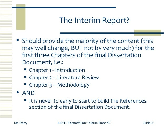 Interim report meaning