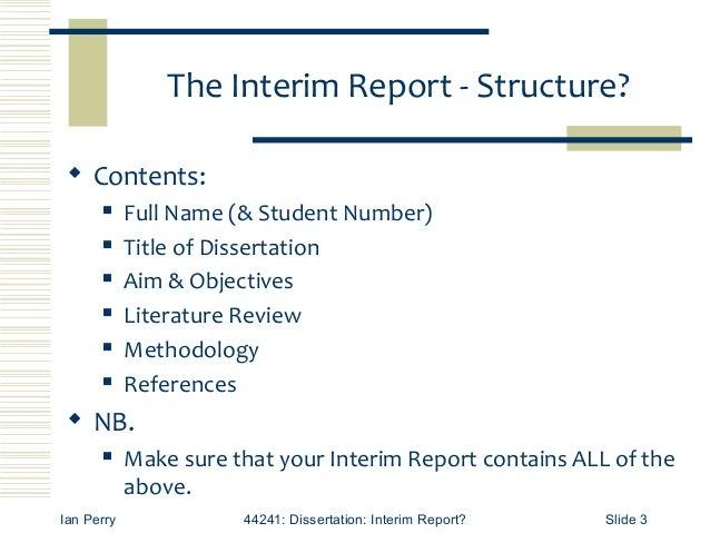 Dissertation project report