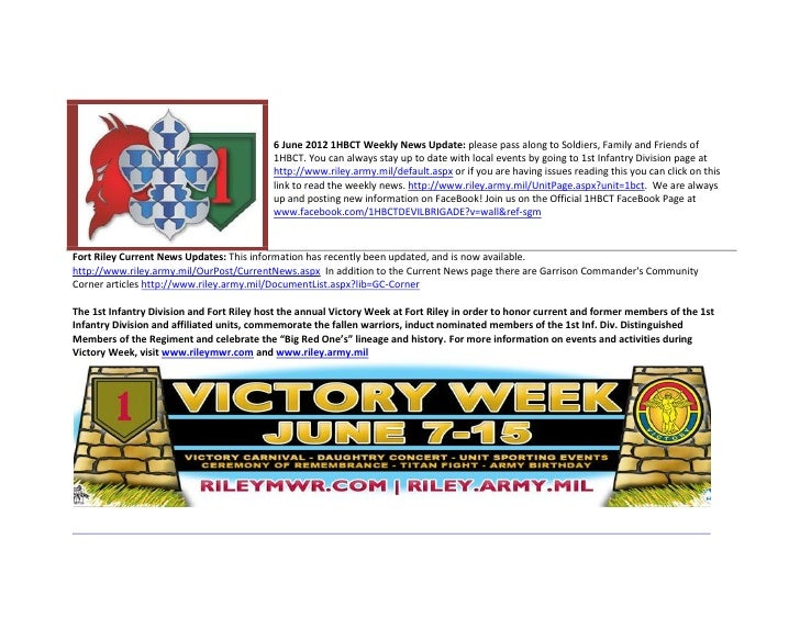 6 June 2012 1HBCT Weekly News Update: please pass along to Soldiers, Family and Friends of                                ...