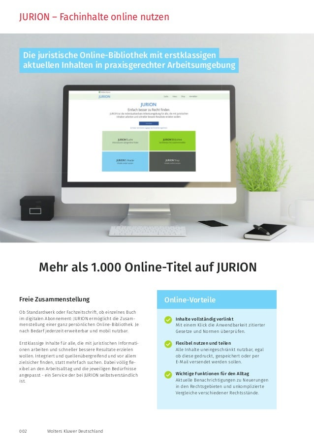 002 Wolters Kluwer Deutschland JURION – Fachinhalte online nutzen Inhalte vollständig verlinkt Mit einem Klick die Anwendb...
