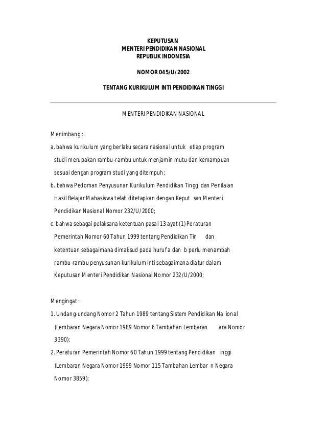 kepmendiknas no 045 u 2002 pdf