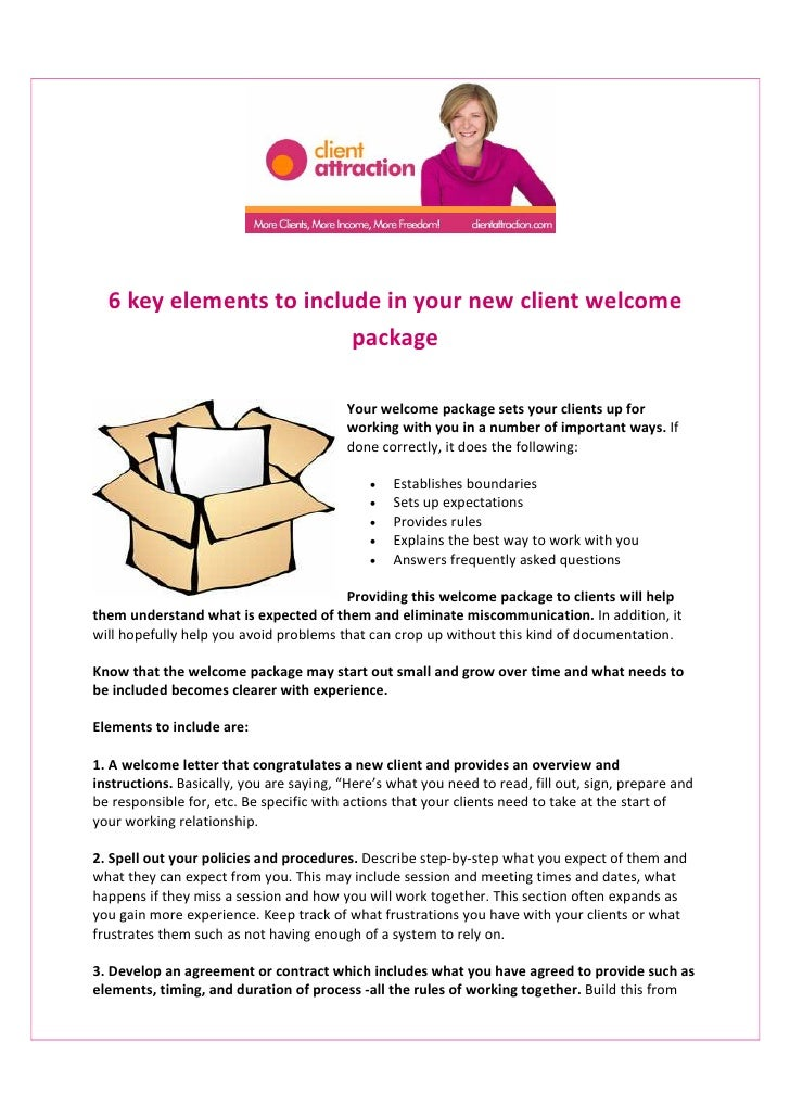 6 Key Elements To Include In Your New Client Welcome Package