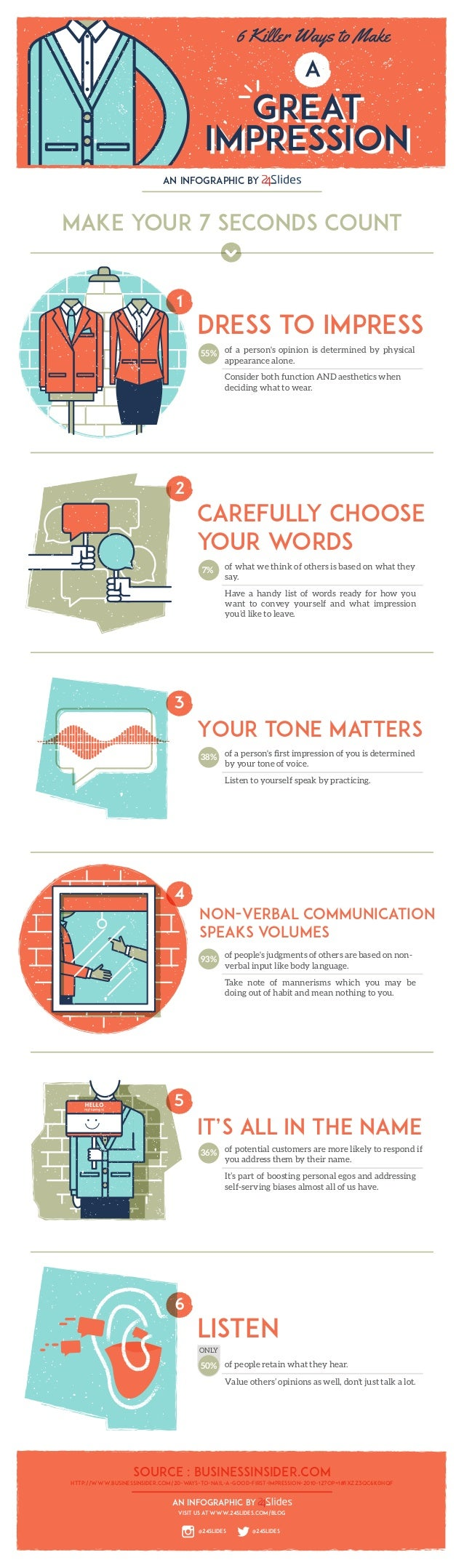 an infographic by Make your 7 seconds count Dress to impress of a person's opinion is determined by physical appearance al...