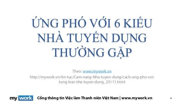Cổng thông tin Việc làm Thanh niên Việt Nam | www.mywork.vn ỨNG PHÓ VỚI 6 KIỂU NHÀ TUYỂN DỤNG THƯỜNG GẶP Theo: www.mywork....