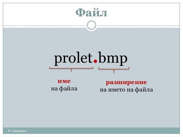 Файл prolet.bmp име на файла разширение на името на файла Н. Андонова