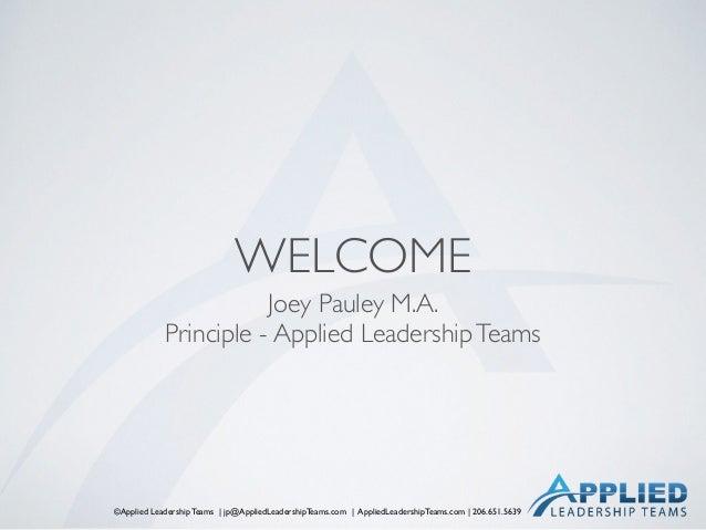©Applied Leadership Teams | jp@AppliedLeadershipTeams.com | AppliedLeadershipTeams.com | 206.651.5639 WELCOME Joey Pauley ...