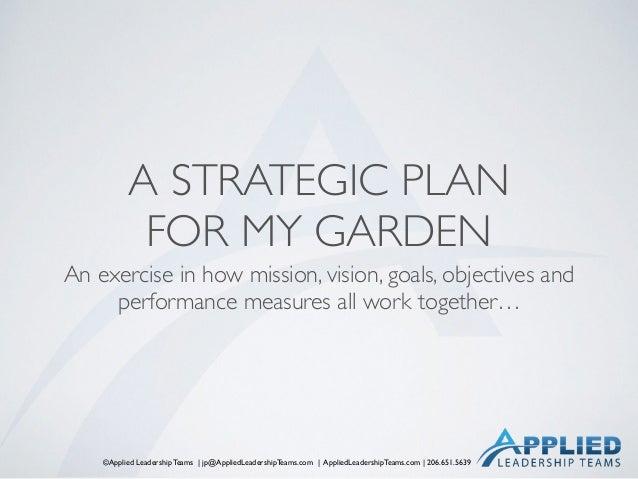 ©Applied Leadership Teams   jp@AppliedLeadershipTeams.com   AppliedLeadershipTeams.com   206.651.5639 A STRATEGIC PLAN  F...