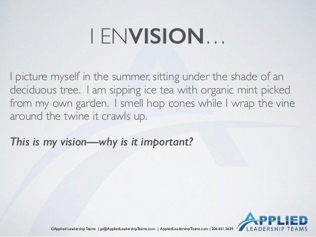 ©Applied Leadership Teams   jp@AppliedLeadershipTeams.com   AppliedLeadershipTeams.com   206.651.5639 I ENVISION… I pictur...