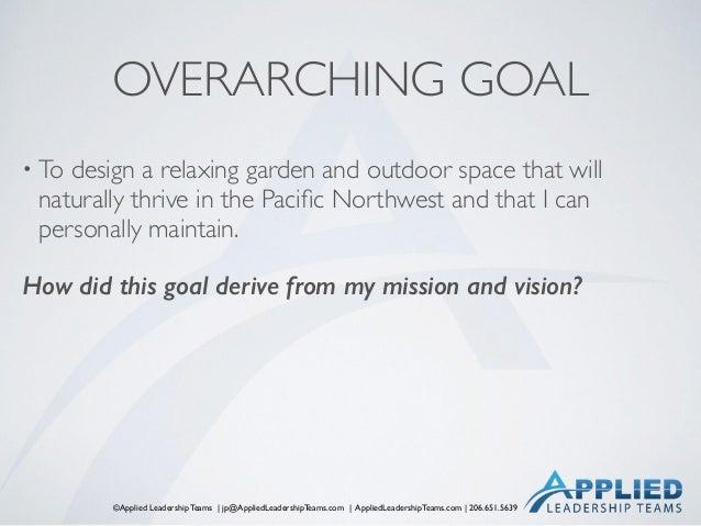 ©Applied Leadership Teams   jp@AppliedLeadershipTeams.com   AppliedLeadershipTeams.com   206.651.5639 OVERARCHING GOAL • T...
