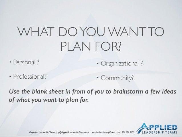 ©Applied Leadership Teams   jp@AppliedLeadershipTeams.com   AppliedLeadershipTeams.com   206.651.5639 WHAT DOYOU WANTTO PL...