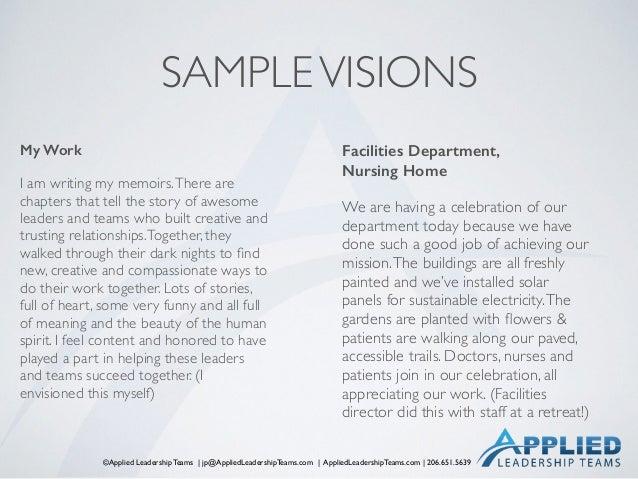 ©Applied Leadership Teams   jp@AppliedLeadershipTeams.com   AppliedLeadershipTeams.com   206.651.5639 SAMPLEVISIONS My Wor...