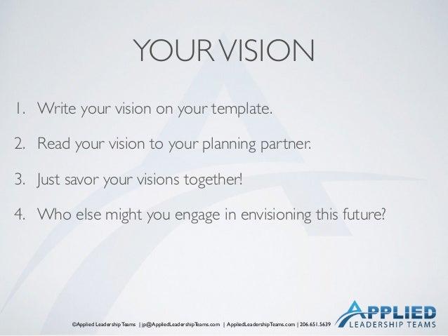 ©Applied Leadership Teams   jp@AppliedLeadershipTeams.com   AppliedLeadershipTeams.com   206.651.5639 YOURVISION 1. Write ...