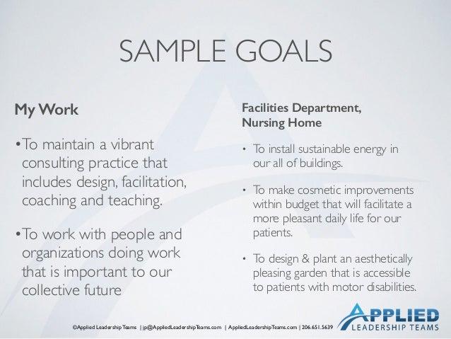 ©Applied Leadership Teams   jp@AppliedLeadershipTeams.com   AppliedLeadershipTeams.com   206.651.5639 SAMPLE GOALS My Work...