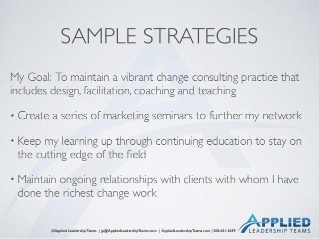 ©Applied Leadership Teams   jp@AppliedLeadershipTeams.com   AppliedLeadershipTeams.com   206.651.5639 SAMPLE STRATEGIES My...