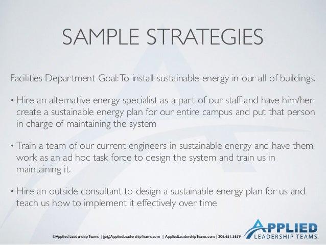 ©Applied Leadership Teams   jp@AppliedLeadershipTeams.com   AppliedLeadershipTeams.com   206.651.5639 SAMPLE STRATEGIES Fa...