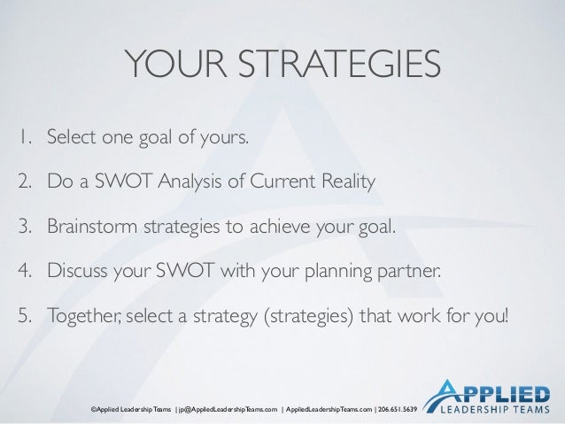 ©Applied Leadership Teams   jp@AppliedLeadershipTeams.com   AppliedLeadershipTeams.com   206.651.5639 YOUR STRATEGIES 1. S...