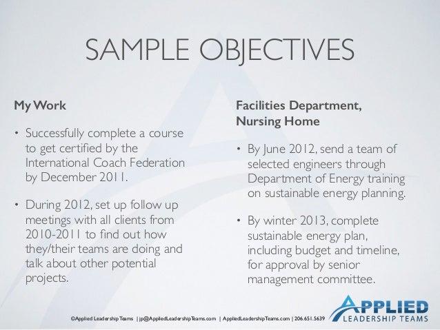 ©Applied Leadership Teams   jp@AppliedLeadershipTeams.com   AppliedLeadershipTeams.com   206.651.5639 SAMPLE OBJECTIVES My...