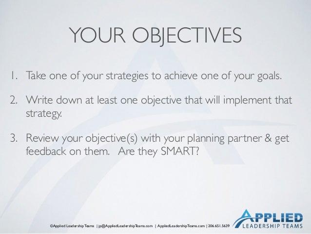 ©Applied Leadership Teams   jp@AppliedLeadershipTeams.com   AppliedLeadershipTeams.com   206.651.5639 YOUR OBJECTIVES 1. T...