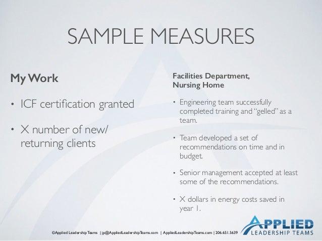 ©Applied Leadership Teams   jp@AppliedLeadershipTeams.com   AppliedLeadershipTeams.com   206.651.5639 SAMPLE MEASURES My W...