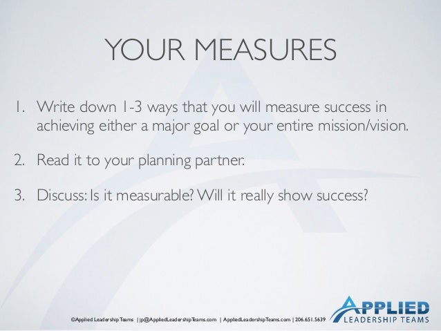 ©Applied Leadership Teams   jp@AppliedLeadershipTeams.com   AppliedLeadershipTeams.com   206.651.5639 YOUR MEASURES 1. Wri...