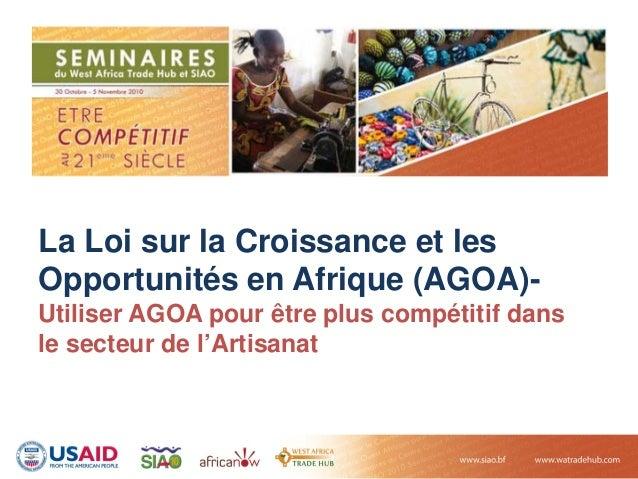 La Loi sur la Croissance et les Opportunités en Afrique (AGOA)- Utiliser AGOA pour être plus compétitif dans le secteur de...