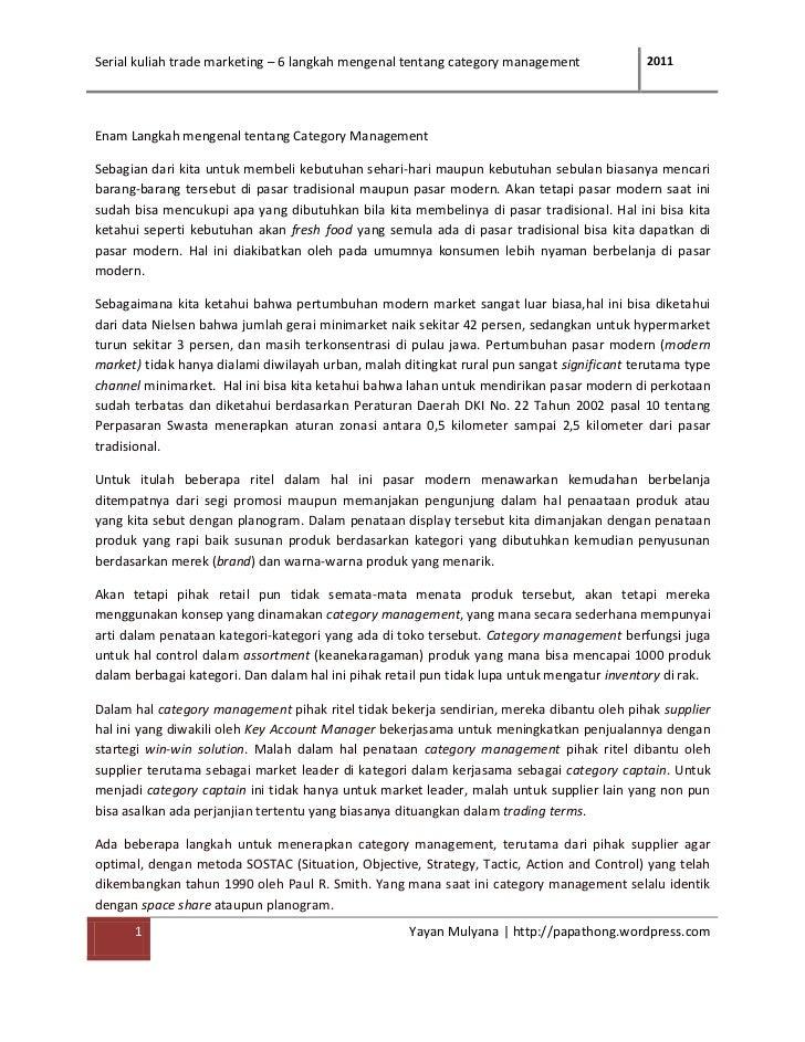 Serial kuliah trade marketing – 6 langkah mengenal tentang category management              2011Enam Langkah mengenal tent...