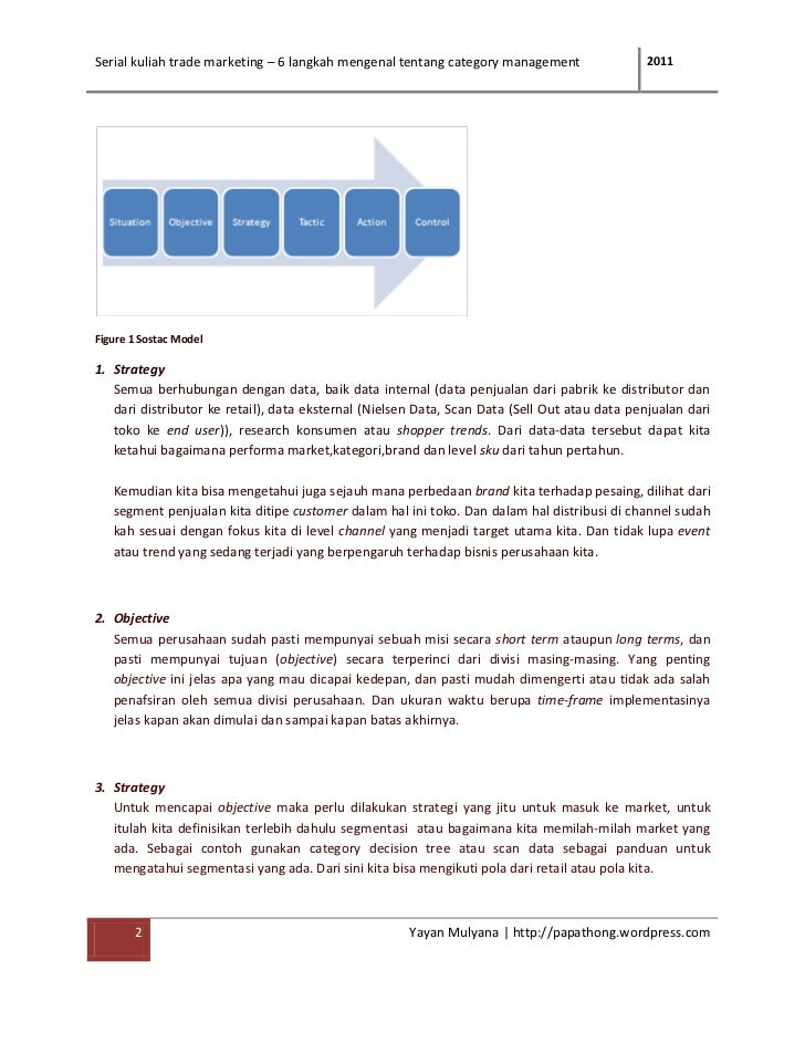Serial kuliah trade marketing – 6 langkah mengenal tentang category management                 2011Figure 1 Sostac Model1....