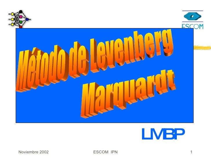 redes neuronales con Levenberg-Marquardt lmbp