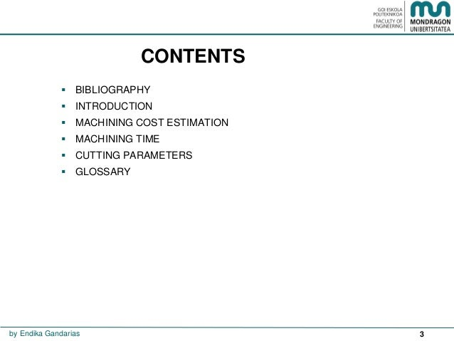 Machining time and costs Slide 3