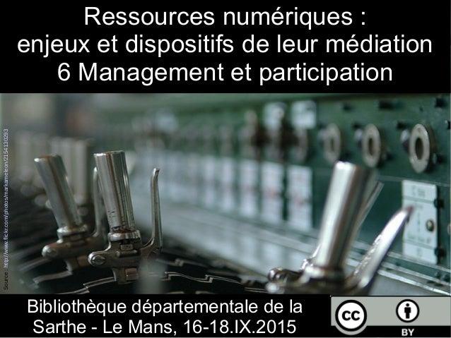 Ressources numériques : enjeux et dispositifs de leur médiation 6 Management et participation Bibliothèque départementale ...