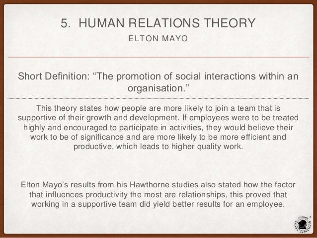 the relevance of elton mayo theories to managers today Hawthorne studies have been subjected to many criticisms yet, the evolvement of many of the management theories today would not have come about without the.