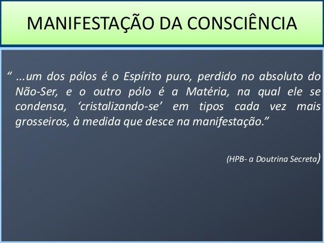 """MANIFESTAÇÃO DA CONSCIÊNCIA """" ...um dos pólos é o Espírito puro, perdido no absoluto do Não-Ser, e o outro pólo é a Matéri..."""