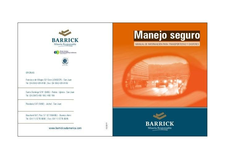 Manejo seguro                                                                   MANUAL DE INFORMACIÓN PARA TRANSPORTISTAS ...