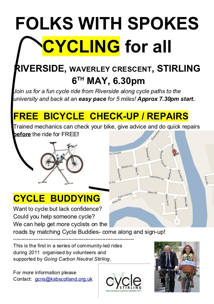 FOLKS WITH SPOKES   CYCLING for allRIVERSIDE, WAVERLEY CRESCENT, STIRLING           6TH MAY, 6.30pmJoin us for a fun cycle...