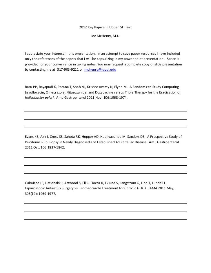 2012KeyPapersinUpperGITract                                           LeeMcHenry,M.D.Iappreciateyourinterest...