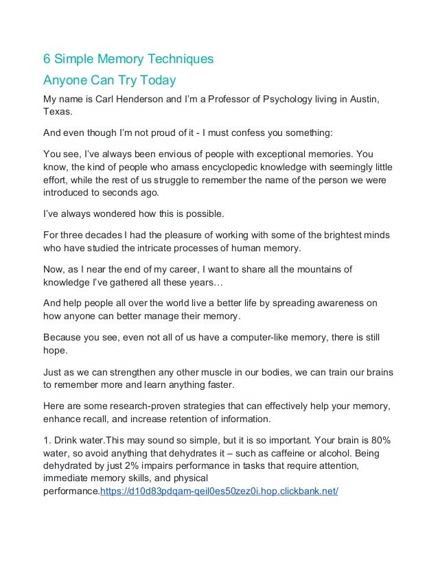 6 Simple Memory Techniques Anyone Can Try Today My name is Carl Henderson and I'm a Professor of Psychology living in Aust...
