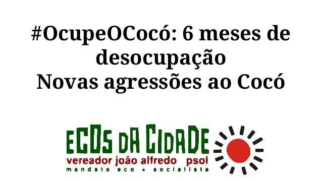 #OcupeOCocó: 6 meses de desocupação Novas agressões ao Cocó