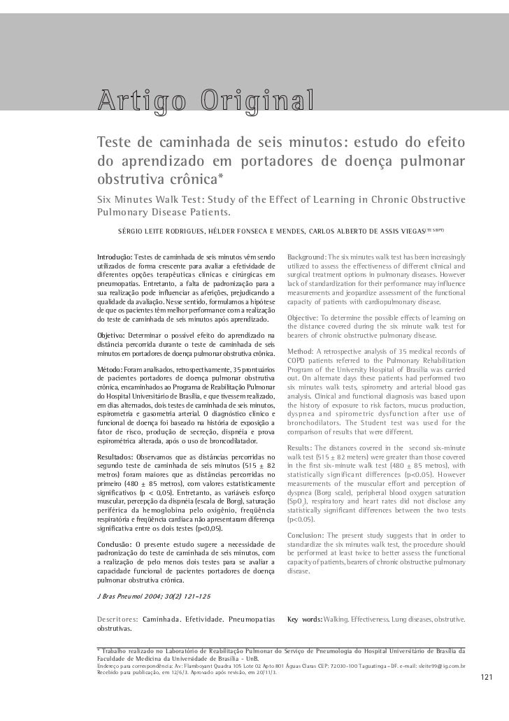 Jornal Brasileiro de Pneumologia 30(2) - Mar/Abr de 2004Teste de caminhada de seis minutos: estudo do efeitodo aprendizado...