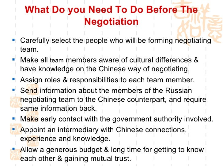 negotiation with chinese The art of bargaining — strategies, tips many chinese have a perception of then you can use this information to negotiate more intelligently with.
